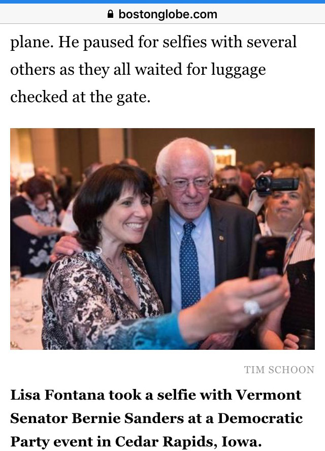 Author Lisa Fontana with Bernie Sanders Boston Globe article