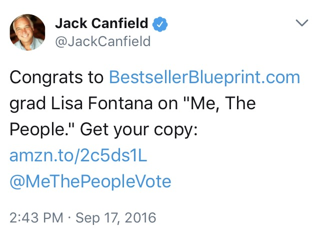 Jack Canfield on Twitter-Congrats to Lisa Fontana Author 'Me, The People' media