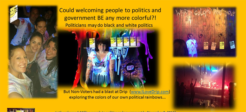 Me The People Vote at an MPI Orlando After 5 event at DRIP Night Club show your political colors